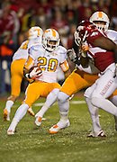 Nov 12, 2011; Fayetteville, AR, USA;  Tennessee Volunteers tailback Robert Younce (20) carries the ball during a game against the Arkansas Razorbacks at Donald W. Reynolds Razorback Stadium. Arkansas defeated Tennessee 49-7. Mandatory Credit: Beth Hall-US PRESSWIRE