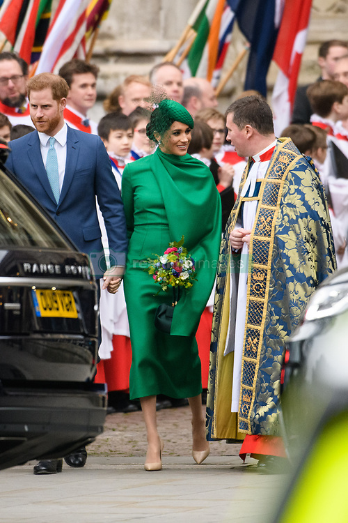 The Duchess of Sussex pictured at the Commonwealth Service at Westminster Abbey, London on Commonwealth Day. The service is the Duke and Duchess of Sussex's final official engagement before they quit royal life. Picture date: Monday March 9, 2020. Photo credit should read: Matt Crossick/Empics