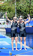 "Rio de Janeiro. BRAZIL.   2016 Olympic Rowing Regatta. Lagoa Stadium, Men's pair Gold Medalist,  NZL M2- Eric MURREY and Hamish BOND, <br /> Copacabana,  ""Olympic Summer Games""<br /> Rodrigo de Freitas Lagoon, Lagoa.   Thursday  11/08/2016 <br /> <br /> [Mandatory Credit; Peter SPURRIER/Intersport Images]"
