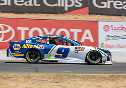 June 22, 2018 - Sonoma, CA, U.S. - SONOMA, CA - JUNE 22:  Chase Elliott, driving the #(9) Chevrolet for Hendrick Motorsports exits out of turn 8a on Friday, June 22, 2018 at the Toyota/Save Mart 350 Practice day at Sonoma Raceway, Sonoma, CA (Photo by Douglas Stringer/Icon Sportswire) (Credit Image: © Douglas Stringer/Icon SMI via ZUMA Press)