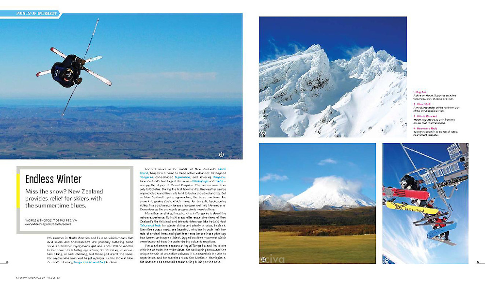 Article about skiing in Tongariro National Park. Words and photos by Tobias Peciva. Published in issue 4 of travel magazine Everywhere.