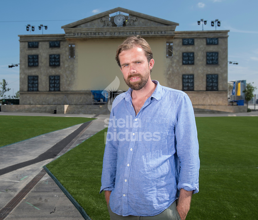 Fabien Riggall, Creative Director and Founder of Future Shorts and Secret Cinema on the set of 'Back to the Future' in Stratford, east London. <br /> Picture by Daniel Hambury/Stella Pictures Ltd +44 7813 022858<br /> 30/07/2014
