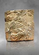 Pictures & images of the North Gate Hittite sculpture stele depicting a Hittite chariot. 8th century BC. Karatepe Aslantas Open-Air Museum (Karatepe-Aslantaş Açık Hava Müzesi), Osmaniye Province, Turkey. Against grey art background