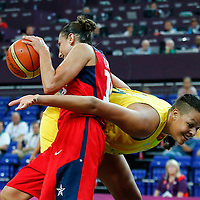 09 August 2012: USA Diana Taurasi vies for the rebound with Australia Elizabeth Cambage during 86-73 Team USA victory over Team Australia, during the women's basketball semi-finals, at the 02 Arena, in London, Great Britain.