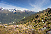 Scenic landscape with view of mountains along the Routeburn Track, South Island, New Zealand