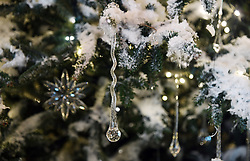 Christmas trees and holiday decorations are seen inside the White House in Washington, DC, November 27, 2017. . Photo by Olivier Douliery/Abaca Press