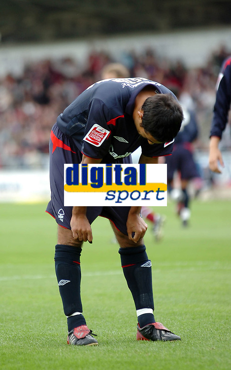 Photo: Kevin Poolman.<br />Northampton Town v Nottingham Forest. Coca Cola League 1. 12/08/2006. <br />Forest's Jack Lester after his missed penalty.