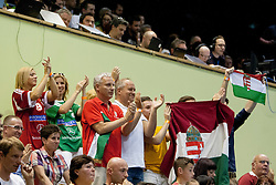 Fans of team Hungary during handball match between National teams of Slovenia and Hungary in play off of 2015 Men's World Championship Qualifications on June 15, 2014 in Rdeca dvorana, Velenje, Slovenia. Photo by Urban Urbanc / Sportida