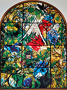 The Tribe of Issachar. The Twelve Tribes of Israel depicted in stained glass By Marc Chagall (1887 - 1985). The Twelve Tribes are Reuben, Simeon, Levi, Judah, Issachar, Zebulun, Dan, Gad, Naphtali, Asher, Joseph, and Benjamin.