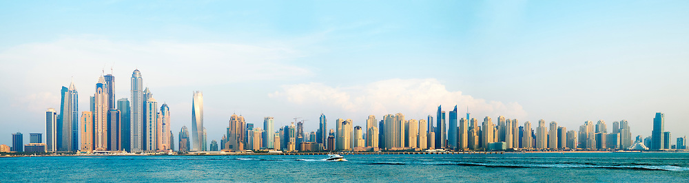 Skyline view of many skyscrapers in Marina district of Dubai United Arab Emirates