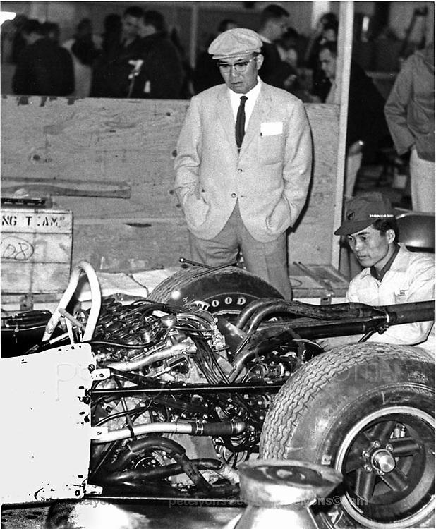 Soichiro Honda with Honda F1 car at 1965 USGP at Watkins Glen