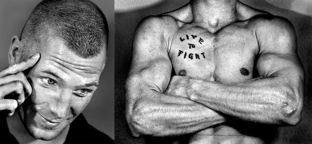 Nederland, Arnhem, 20-09-2013.<br /> Peter Mullenberg, bokser in de klasse tot 81 kg, met zijn tattoo.<br /> Foto : Klaas Jan van der Weij