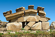 Pediment of the 2-1 cent.B.C Propylon gateway connecting the sanctuary of Artimis with the Agora, Magnesia on the Meander arcaeological site, Turkey .<br /> <br /> If you prefer to buy from our ALAMY PHOTO LIBRARY  Collection visit : https://www.alamy.com/portfolio/paul-williams-funkystock/magnesia-site-turkey.html<br /> <br /> Visit our ANCIENT GREEKS PHOTO COLLECTIONS for more photos to download or buy as wall art prints https://funkystock.photoshelter.com/gallery-collection/Ancient-Greeks-Art-Artefacts-Antiquities-Historic-Sites/C00004CnMmq_Xllw