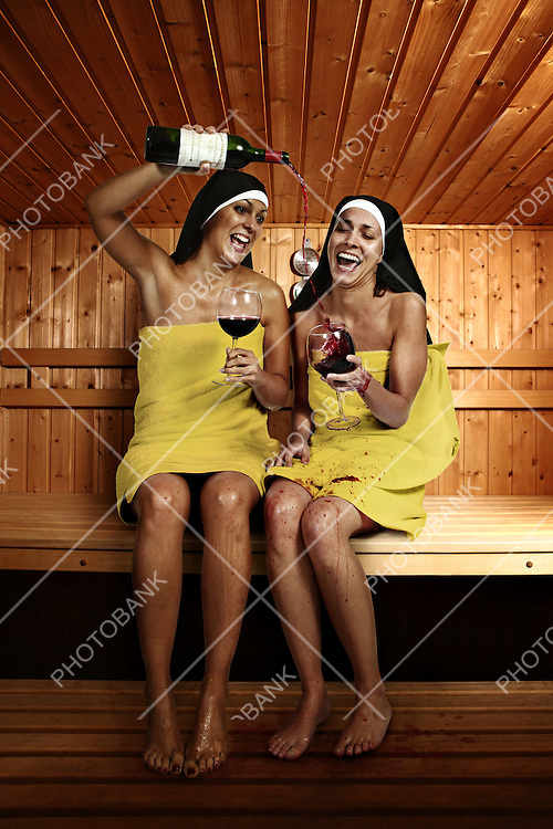 Two nuns in the sauna drunk.