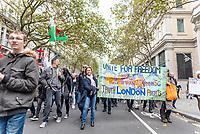 anti-lockdown  march through and ending Trafalgar Square, London 24th oct 2020 photo Mark anton Smith