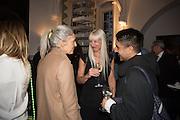 RUTH CHAPMAN; SUSANNE TIDE-FRATER; OSMAN YOUSEFZADA , Stefania Pramma launched her handbag brand PRAMMA  at the Kensington residence of her twin sister, art collector Valeria Napoleone.. London.  29 April 2015