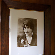 A photograph of Katherine Mansfield at The Katherine Mansfield Birthplace, Wellington. The Katherine Mansfield Birthplace is the childhood home of one of the world's best-known short story writers and New Zealand's most famous author..You can enjoy a virtual visit to this historic family home and garden, as well as discover the life and work of the writer herself at The Katherine Mansfield Birthplace. Tinakori Road. Thorndon. Wellington, New Zealand.  22nd January 2011. Photo Tim Clayton