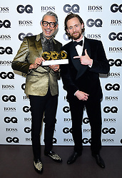 Jeff Goldblum in the press room with the Haig Club Icon Award alongside Tom Hiddleston at the GQ Men of the Year Awards 2018 in Association with Hugo Boss held at The Tate Modern in London.