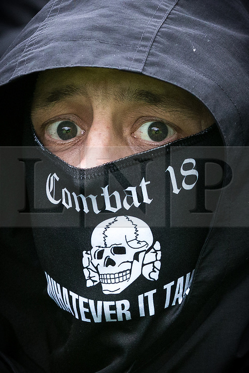 © Licensed to London News Pictures . Kent , UK . SHANE CALVERT ( 34 , of Shadsworth Close , Blackburn ) pictured at a far-right demonstration in  Dover on 30th January 2016 . Calvert has been convicted of violent disorder and sentenced to two-and-a-half years in prison for his role in violence that unfolded at the demonstration . Photo credit : Joel Goodman/LNP