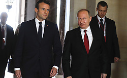 May 29, 2017 - Paris, France - May 29, 2017. - France, Paris. - Russian President Vladimir Putin and French President Emmanuel Macron (left) meeting at the Grand Trianon of the Versailles Palace. (Credit Image: © Russian Look via ZUMA Wire)