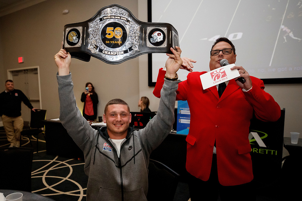 General images of the UCF Knights as they celebrate winning the first round of Battle for Bowl Week at Andretti Indoor Karting, Wednesday, December 27, 2017, in Marietta, GA. UCF will face Auburn in the Chick-fil-A Peach Bowl on January 1, 2018. (Paul Abell via Abell Images for Chick-fil-A Peach Bowl)