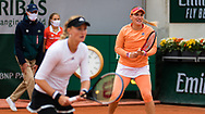 Kristina Mladenovic of France and Timea Babos of Hungary in action during the doubles semi-final of the Roland Garros 2020, Grand Slam tennis tournament, on October 9, 2020 at Roland Garros stadium in Paris, France - Photo Rob Prange / Spain ProSportsImages / DPPI / ProSportsImages / DPPI