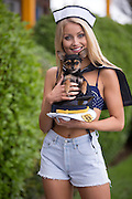 NO FEE PICTURES<br /> 20/1/16 Discover a variety of breathtaking holiday destinations at the Holiday World Show Dublin taking place in the RDS Simmonscourt from tomorrow, Friday 22nd January, through to Sunday, 24th January. Model Kerri-Nicole is pictured with her dog Pixie exploring the exhibition stands at the RDS Simmonscourt. <br /> For further information on the Holiday World Show 2016 visit www.holidayworldshow.com Picture: Arthur Carron