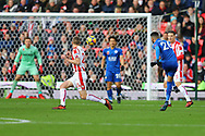 Riyad Mahrez of Leicester City ®  tries a shot at goal which Stoke City Goalkeeper Jack Butland tips over his bar. Premier league match, Stoke City v Leicester City at the Bet365 Stadium in Stoke on Trent, Staffs on Saturday 4th November 2017.<br /> pic by Chris Stading, Andrew Orchard sports photography.