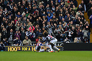 WBA players celebrate their 2nd goal, an own goal scored by Swansea city player Jonathan De Guzman. Barclays Premier league, West Bromwich Albion v Swansea city at the Hawthorns stadium in West Bromwich, England on Saturday 9th March 2013.  pic by  Andrew Orchard, Andrew Orchard sports photography,