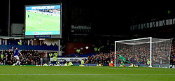 """Everton's Leighton Baines takes a penalty during the shootout during the Carabao Cup, third round match at Goodison Park, Liverpool. PRESS ASSOCIATION Photo. Picture date:  Tuesday October 2, 2018. See PA story SOCCER Everton. Photo credit should read: Peter Byrne/PA Wire. RESTRICTIONS: EDITORIAL USE ONLY No use with unauthorised audio, video, data, fixture lists, club/league logos or """"live"""" services. Online in-match use limited to 120 images, no video emulation. No use in betting, games or single club/league/player publications"""