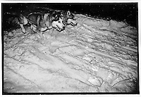 Sometime in the middle of the night, somewhere along the Rapid River Truck Trail between Chatham and Rapid River, Michigan during the UP 200 Sled Dog Race, Midnight Run, 1992.