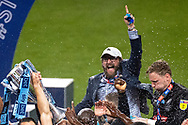 Pete Couhig Wycombe Wanderers Chief Financial Officer and nephew of owner Rob Couhig celebrates with the Wycombe Wanderers team after winning the EFL Sky Bet League 1 Play Off Final match between Oxford United and Wycombe Wanderers at Wembley Stadium, London, England on 13 July 2020.
