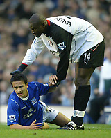 Fotball<br /> England 2004/2005<br /> Foto: SBI/Digitalsport<br /> NORWAY ONLY<br /> <br /> Everton v Fulham<br /> Barclays Premiership. 20/11/2004. <br /> Papa Bouba Diop offers a helping hand to Tim Cahill of Everton after bringing him down.