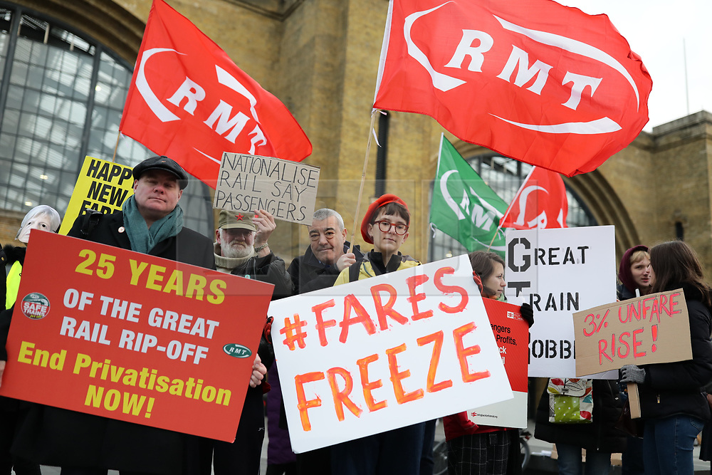 © Licensed to London News Pictures. 02/01/2019. London, UK. Leader of the Labour Party Jeremy Corbyn joins protesters at King's Cross as passengers begin a 'national day of action' over 3.1% fare increases. Photo credit: Rob Pinney/LNP