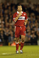 Picture: Henry Browne.<br />Date: 25/08/2004.<br />Fulham v Middlesborough FA Barclays Premiership.<br /><br />Mark Viduka crosses himself after scoring the first goal for Borough.