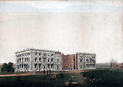 Ruins of the US Capitol building, Washington, after British attempt to burn it on 24 August 1814 during the Anglo-American War 1812-1815 (War of 1812).  Ink and watercolour on paper.