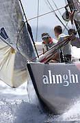 Dean Phipps prepares for a spinnaker hoist in the last race of the Louis Vuitton cup 2003. 19/1/2003 (© Chris Cameron 2003)