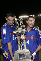FOOTBALL - UNDER 21 TOULON TOURNAMENT 2005 - FINAL - FRANCE v PORTUGAL - 10/06/2005 -JOY NICOLAS FAUVERGUE / PETER FRANQUART (FRA) WITH THE TROPHY AFTER THE FINAL VICTORY - <br />