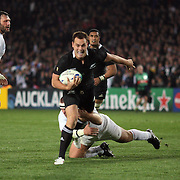 Israel Dagg, New Zealand, scores a try during the New Zealand V France, Pool A match during the IRB Rugby World Cup tournament. Eden Park, Auckland, New Zealand, 24th September 2011. Photo Tim Clayton..