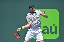 April 1, 2018 - Miami, FL, United States - KEY BISCAYNE, FL - APRIL 1: John Isner (USA) in action defeats Alexander Zverev (GER) 67(4) 64 64 2018 Miami Open held at the Tennis Center at Crandon Park on April 1, 2018.   Credit: Andrew Patron/Zuma Wire (Credit Image: © Andrew Patron via ZUMA Wire)