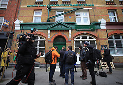 © Licensed to London News Pictures . 11/03/2014. Members of the press await outside of the RMT head office, London, as Bob Crow, General secretary of the Rail Maritime and Transport union, has died today (11/03/14) at the age of 52 of a heart attack.London, UK.   Photo credit: Isabel Infantes /LNP