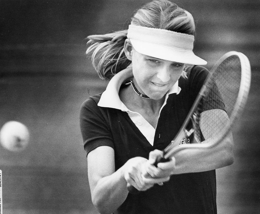 ©1987 college women's tennis action.