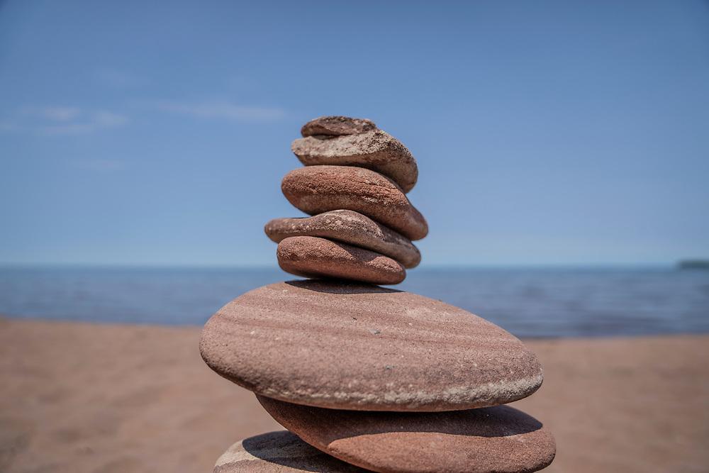 Stone cairns at the Lake Superior beach at Big Bay, Michigan.