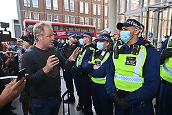 © Licensed to London News Pictures. 16/09/2021. London, UK. Anti Lockdown and anti Covid vaccination protesters take part in a demonstration outside The News Building in London Bridge calling for an end to mandatory vaccination passports and the vaccination of teenagers. Photo credit: London News Pictures