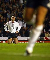 Photograph: Scott Heavey.<br />England v Denmark. International Friendly. 16/11/2003.<br />Danny Murphy narrowly misses