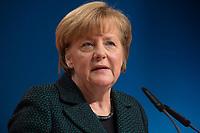 09 DEC 2014, KOELN/GERMANY:<br /> Angela Merkel, CDU, Bundeskanzlerin, haelt ihre Rede als Parteivorsitzende der CDU, CDU Bundesparteitag, Messe Koeln<br /> IMAGE: 20141209-01-019<br /> KEYWORDS: Party Congress