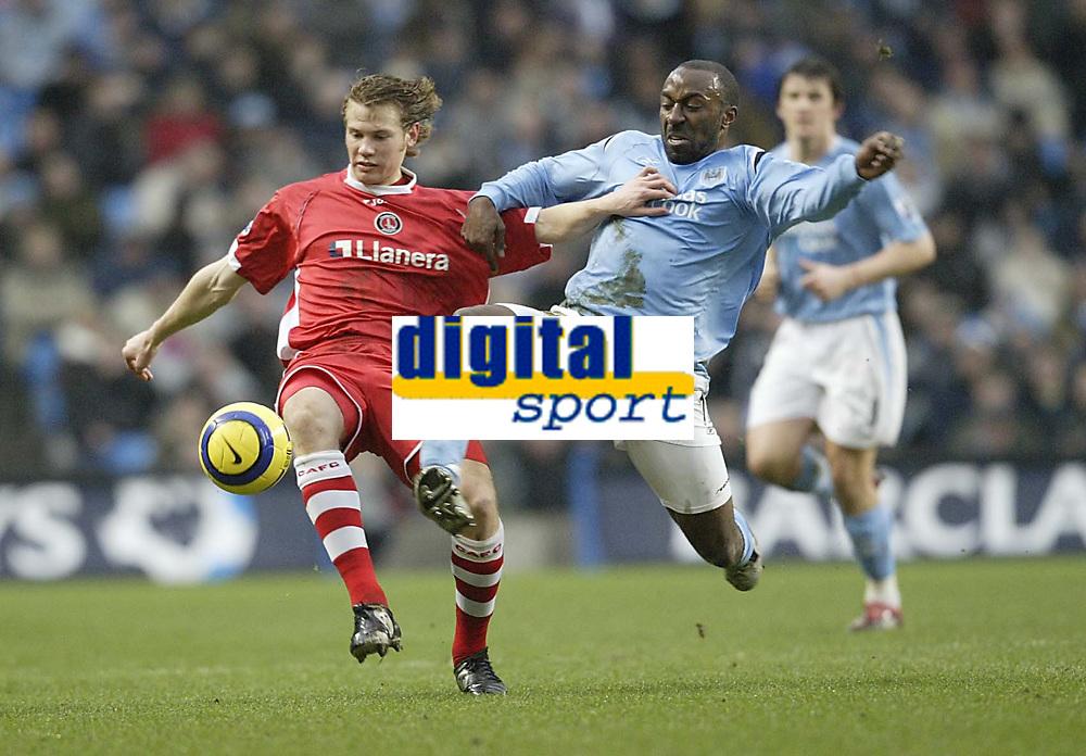 Photo: Aidan Ellis.<br /> Manchester City v Charlton Athletic. The Barclays Premiership. 12/02/2006.<br /> City's Darius Vassell and Charlton's Johnathon Spector
