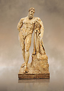 End of 2nd century beginning of 3rd century AD Roman marble sculpture of Hercules at rest copied from the second half of the 4th century BC Hellanistic Greek original,  inv 6001, Farnese Collection, Museum of Archaeology, Italy ..<br /> <br /> If you prefer to buy from our ALAMY STOCK LIBRARY page at https://www.alamy.com/portfolio/paul-williams-funkystock/greco-roman-sculptures.html . Type -    Naples    - into LOWER SEARCH WITHIN GALLERY box - Refine search by adding a subject, place, background colour, museum etc.<br /> <br /> Visit our ROMAN WORLD PHOTO COLLECTIONS for more photos to download or buy as wall art prints https://funkystock.photoshelter.com/gallery-collection/The-Romans-Art-Artefacts-Antiquities-Historic-Sites-Pictures-Images/C0000r2uLJJo9_s0