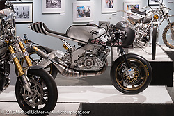 "Roland Sands' Yamaha TZRD in Michael Lichter's Motorcycles as Art annual exhibition titled ""The Naked Truth"" at the Buffalo Chip Gallery during the 75th Annual Sturgis Black Hills Motorcycle Rally.  SD, USA.  August 4, 2015.  Photography ©2015 Michael Lichter."
