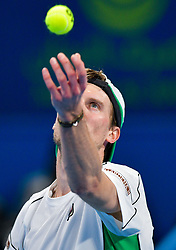 Andreas Seppi of Italy serves to Andrey Rublev of Russia during their first round of ATP Qatar Open Tennis match at the Khalifa International Te?nnis Complex in Doha, capital of Qatar, on December 31, 2018. Andrey Rublev won 2-0  (Credit Image: © Yangyuanyong/Xinhua via ZUMA Wire)